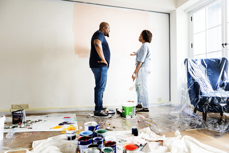 People renovating the house Stock Photo