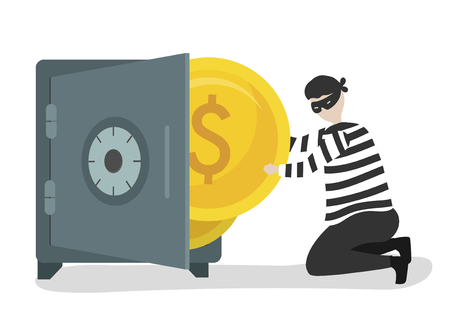 Illustration of a character stealing money Stok Fotoğraf