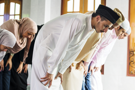 Muslim praying at the mosque