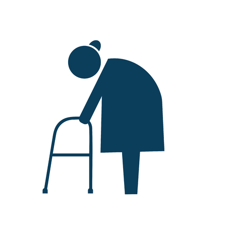 Elderly with walker icon pictogram illustration Stock Photo