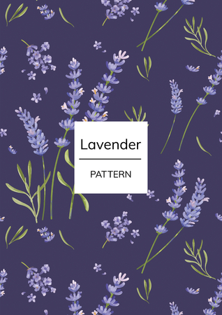 Hand drawn lavender flower pattern Stock Photo