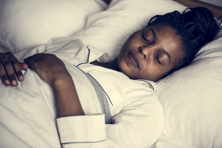 A woman sleeping soundly Stock Photo