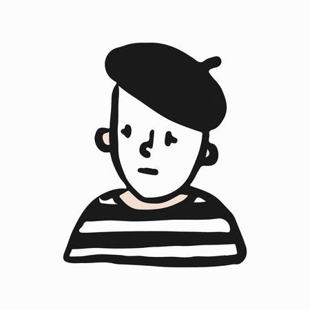 Ilustración de doodle de mimo francés triste