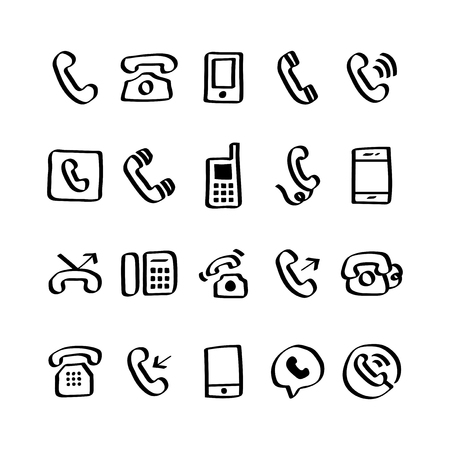 Illustration set of phone icons 写真素材 - 105391946