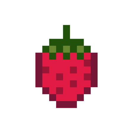 A strawberry pixelated fruit graphic