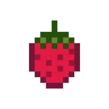 Un gráfico de fruta pixelada de fresa.