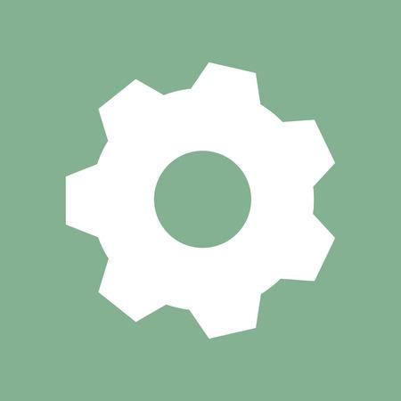 White gear on green background 版權商用圖片