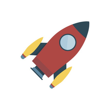 Red color space rocket isolated graphic illustration Archivio Fotografico - 105392018