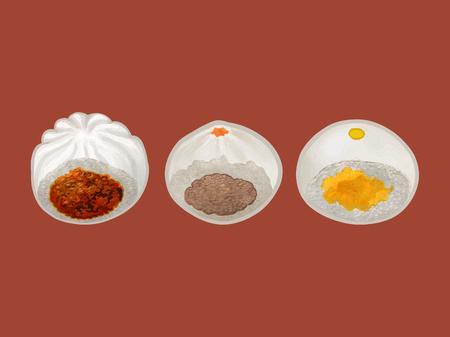 Illustration de trois petits pains cuits à la vapeur chinois