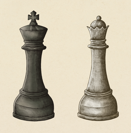 Hand-drawn chess king and queen illustration 写真素材