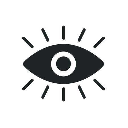 A black eye graphic icon on white background