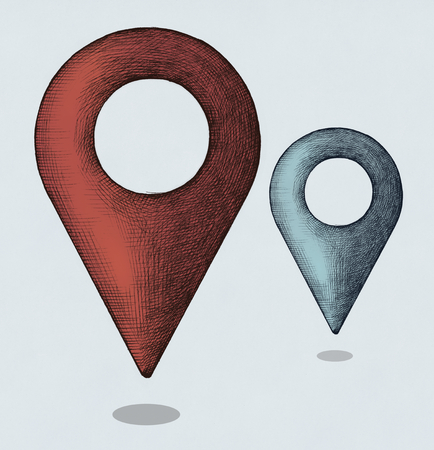 Hand-drawn red and blue location illustration