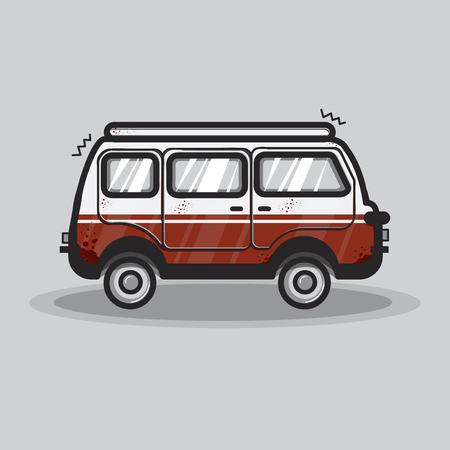 Vintage van transportation graphic illustration 版權商用圖片
