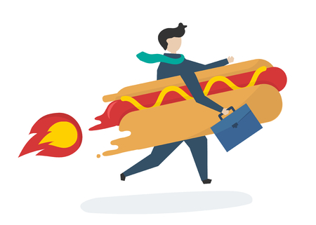Illustration of a business character with fast food Stock Photo