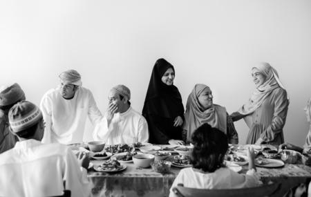 Muslim family having a Ramadan feast Stock Photo - 105392170