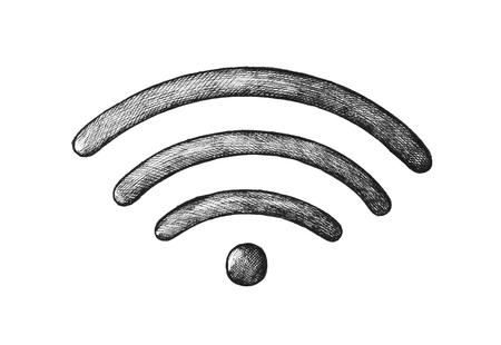 Hand-drawn wireless internet illustration