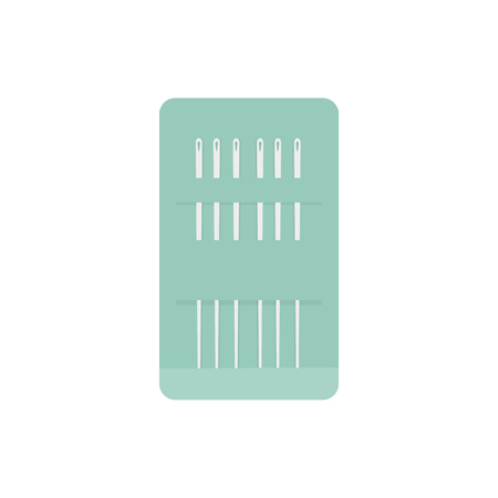 Needles in a green case icon illustration
