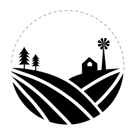 Cultivation of land farming logo illustration