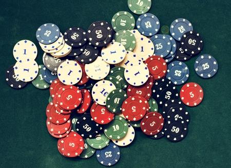 Gambling tokens on table 스톡 콘텐츠