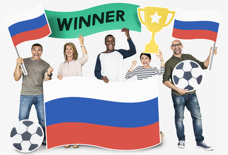 Diverse football fans holding the flag Russia 스톡 콘텐츠