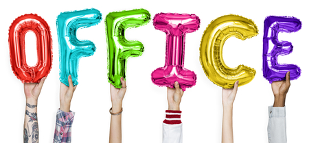 Hands showing office balloons word Reklamní fotografie