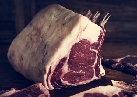Tomahawk beef steak at a butcher shop