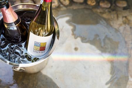 White wine in ice bucket