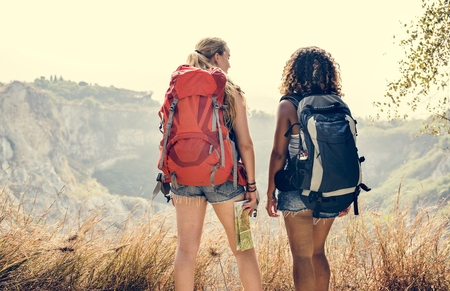 Young women traveling together Stock fotó