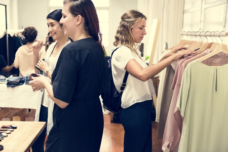 Customers checking out clothes