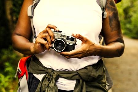 Woman with an analog camera Archivio Fotografico