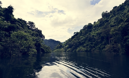 Beautiful view of a lake and blue sky Reklamní fotografie - 106350136