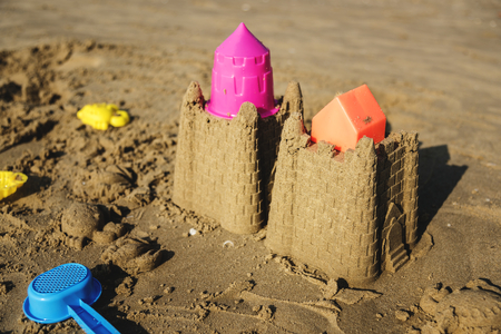 Cute sand castle on the beach 스톡 콘텐츠