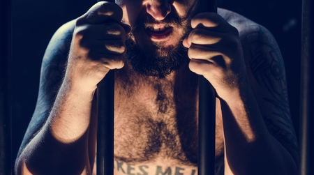 A man arrested in the jail Stock Photo