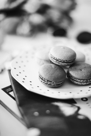 Closeup of macaroons on a dish 写真素材