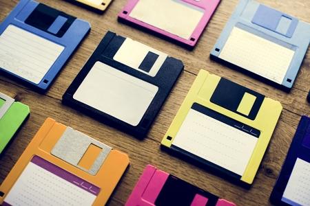 Old school floppy disk drive data storage Фото со стока