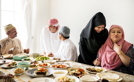 Muslim family having a Ramadan feast