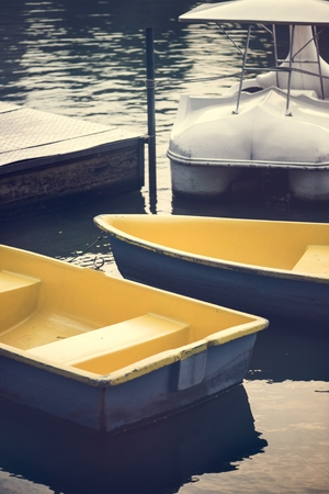 Paddle boats in a dark lake
