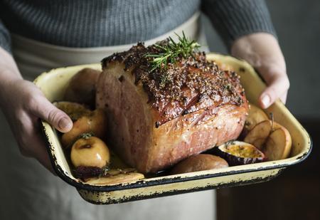 Baked ham food photography recipe idea Stock Photo