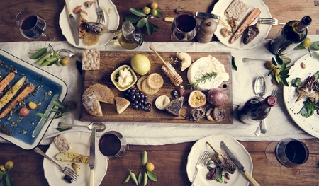 Rustic style dinner with cheese platter Stock fotó