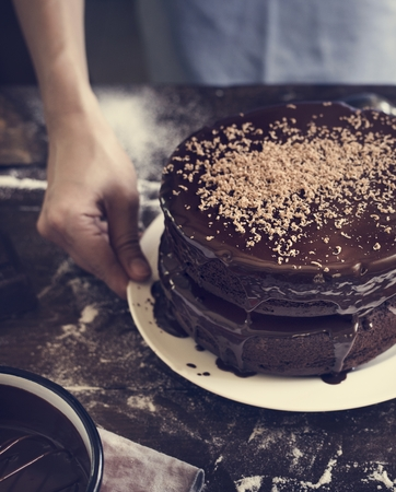 Chocolate cake food photography recipe idea Stok Fotoğraf