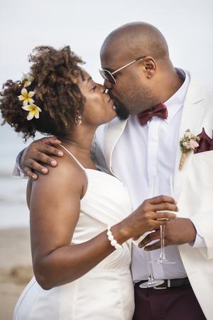 African American couple's wedding day 版權商用圖片