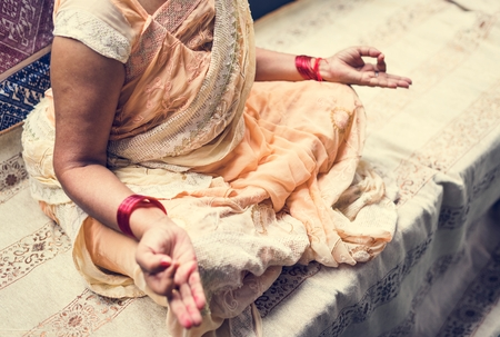 A meditating Indian woman Stock fotó