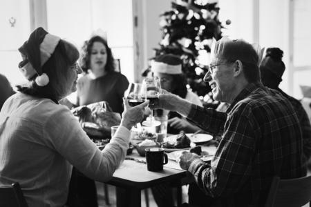 Family enjoying a Christmas dinner