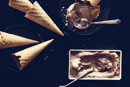 Dark chocolate ice cream and cones