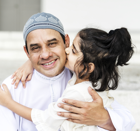 Muslim father and his daughter