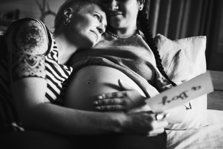 Lesbian couple expecting a baby Stock fotó