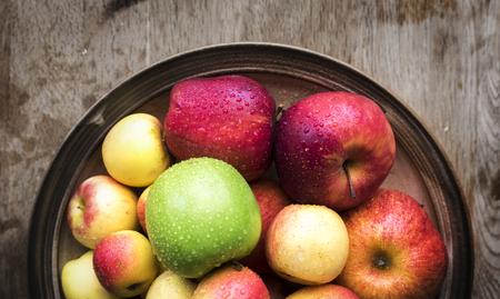 Bowl of fresh apples Stock Photo