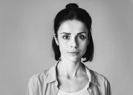 Portrait of a serious Caucasian woman