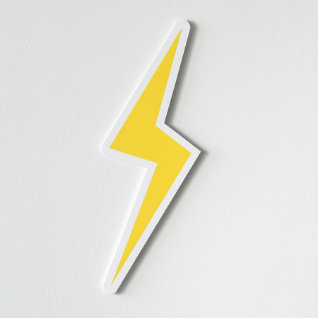 Yellow electric lightning bolt icon Stok Fotoğraf - 106374324