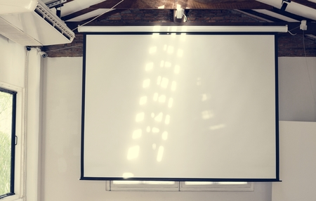 Projector screen in a room